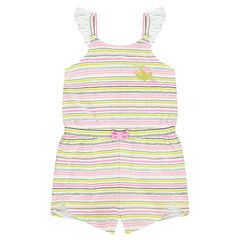 "Korte playsuit met strepen ""all-over"" en met schouderbandjes met volants"