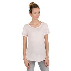 Tee-shirt manches courtes de grossesse avec fines broderies