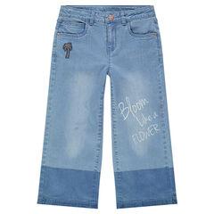 Junior - Wijde jeans met used effect en patch met palmboom