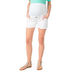 Short de grossesse en denim blanc avec bandeau haut