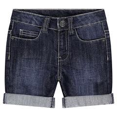 Junior - Bermuda en jeans effet used et crinkle