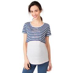 Tee-shirt homewear de grossesse et d'allaitement effet 2 en 1