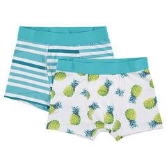 Junior - Lot de 2 boxers avec rayures contrastées et ananas