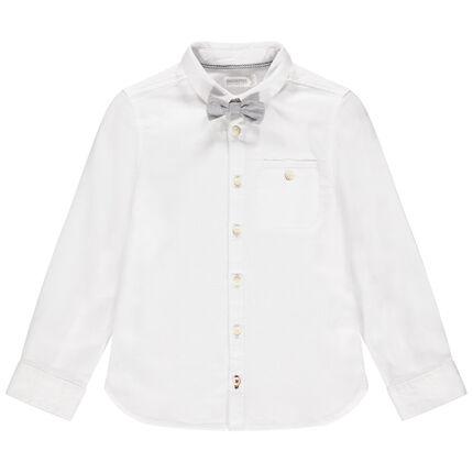 Chemise manches longues en coton avec noeud papillon amovible
