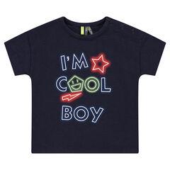 Tee-shirt manches courtes en jersey avec inscriptions effet néon