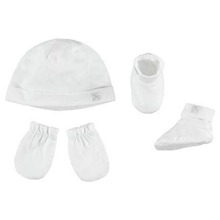 Ensemble avec bonnet uni, moufles et chaussons en jersey