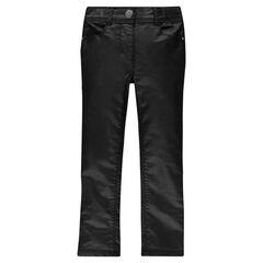 Broek slimfit in zwarte kleur met fantasie coating effect
