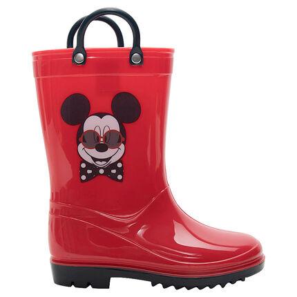 Bottes de pluie en caoutchouc à pois all-over avec print Mickey Disney du 20 au 23