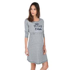 Zwangerschaps- en borstvoedingsnachthemd met print met opschrift