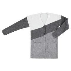 Junior - Vest van driekleurig breiwerk met zakken