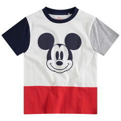 Tee-shirt manches courtes tricolore print Mickey ©Disney