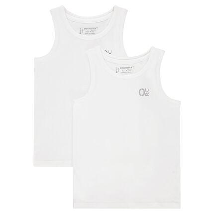 Lot de 2 débardeurs en coton (maillots de corps) print logo