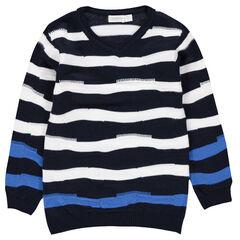 Trui van tricot met contrasterende strepen van jacquard