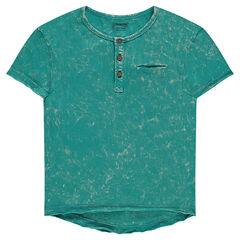 Geverfd T-shirt met korte mouwen en Tunesische kraag