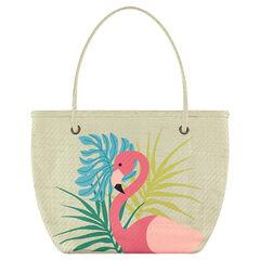 Rieten strandzak met print met roze flamingo
