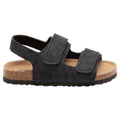 Sandalen met brede riemen met klittenbandsluiting en zool met kurkeffect