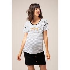 T-shirt met korte mouwen van gestreepte jerseystof met geborduurd opschrift