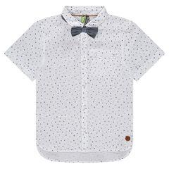 Chemise manches courtes imprimée all-over avec noeud papillon