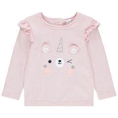 Pull en tricot à animal printé et oreilles en relief