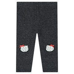 Legging en molleton avec patchs forme chat