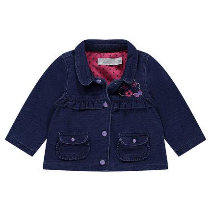 Vest van molton met jeanseffect met voering met stippenprint en geborduurde motieven