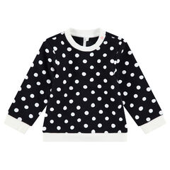 """Moltonsweater met witte stippen """"all-over"""""""