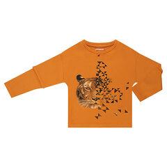 Tee-shirt manches longues effet 2 en 1 avec tigre printé