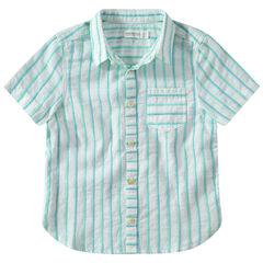Chemise manches courtes à rayures jacquard contrastées et poche