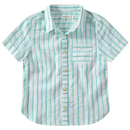 Hemd met korte mouwen, contrasterende strepen van jacquard en zakje