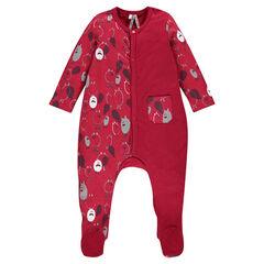 Pyjama met een bedrukte en een effen zijde