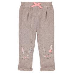 Joggingbroek uit molton met opgestikte konijnen