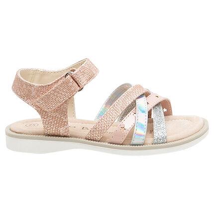 Nu-pieds à brides texturées iridescentes et pailletées du 24 au 29