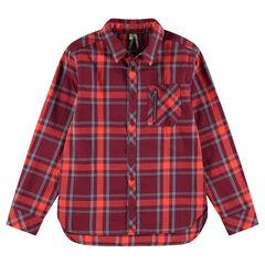 Junior - Geruit hemd met zakken met ritssluiting