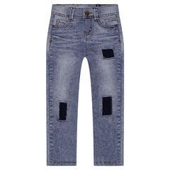 Junior - Slim-fit jeans met used effect en patches