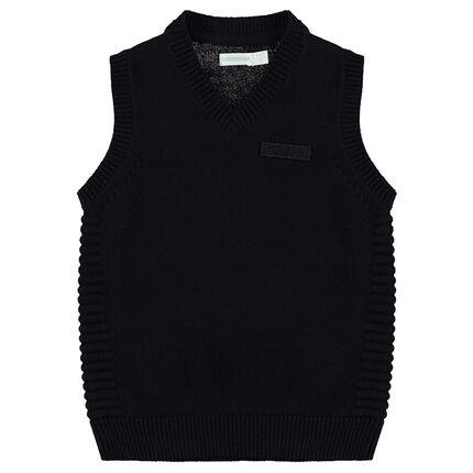 Pull sans manches en tricot esprit vintage avec maille fantaisie