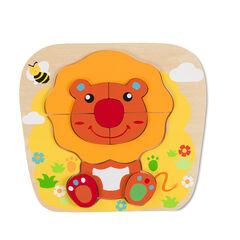 Houten puzzel leeuw - Oranje/Rood