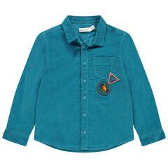 Hemd met lange mouwen van blauw velours met zak en badges