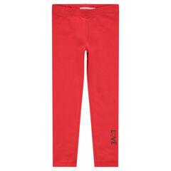 Legging van rode jerseystof met print met opschrift