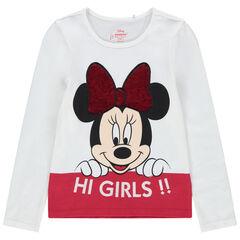 T-shirt manches longues print Minnie Disney noeud en sequins magiques