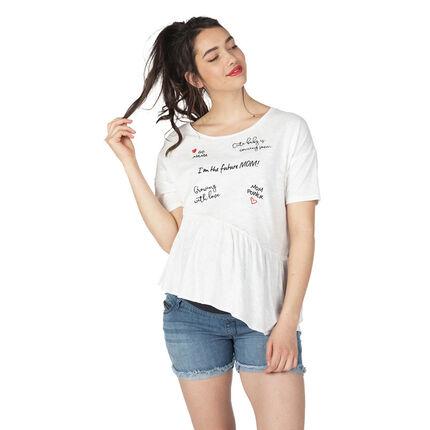 Zwangerschaps-T-shirt met korte mouwen en opschriften