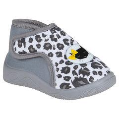 Pantoffels in grijze kleur met luipaard