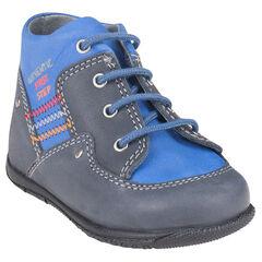 Boots in leder veters met borduursels gekleurde