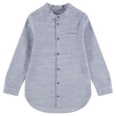 Chemise manches longues en coton chiné avec col mao