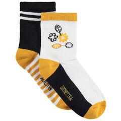 Set met 2 paar matching sokken met bloemen/strepen van jacquard