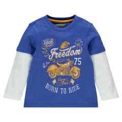 Tee-shirt manches longues effet 2 en 1 avec moto printée