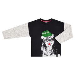Tee-shirt manches longues effet 2 en 1 avec loup de Noel printé devant