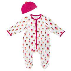 Pyjamaset met mutsje en met ijsjesprint