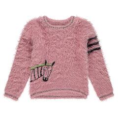 """Trui van tricot met """"haartjes""""-effect en geborduurde zebra en contrasterende banden aan de mouw"""