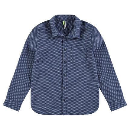 Junior - Hemd met lange mouwen met micromotief en zak