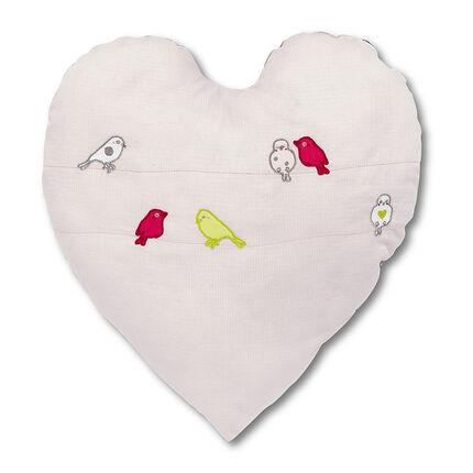Kussen in vogel katoenpiqué met hart borduursel